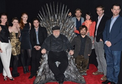 George R.R. Martin with Game of Thrones cast