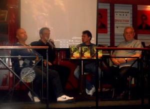Promocija romana ''Klarina ljuljaška'': Saša Radojević, Miljan Marković, Dragoljub Igrošanac, Radmilo Anđelković