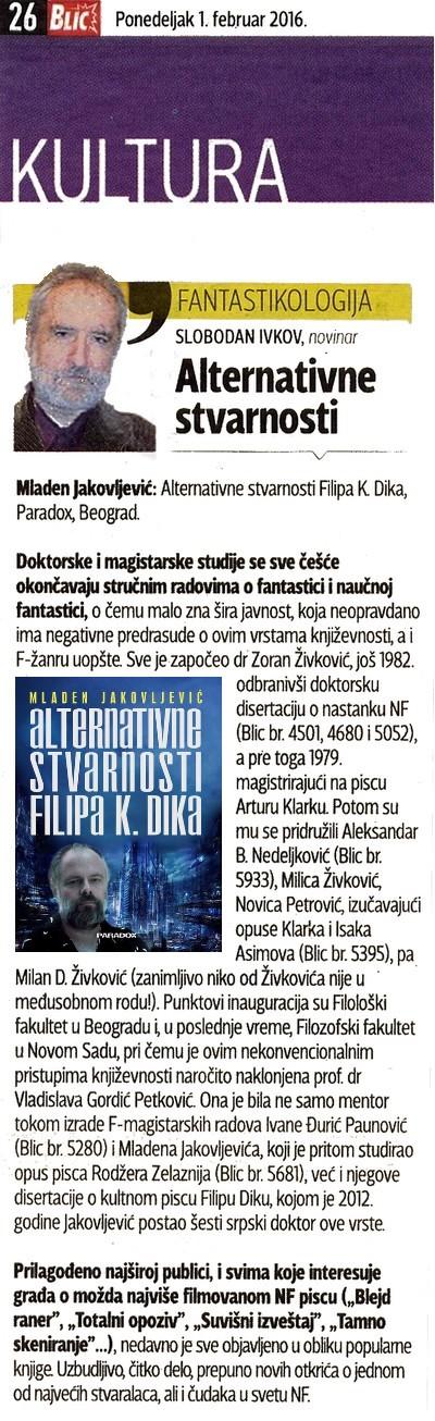 Mladen Jakovljević – ALTERNATIVNE STVARNOSTI FILIPA K. DIKA