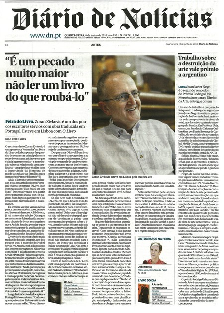 Tekst objavljen u listu Diario de noticias