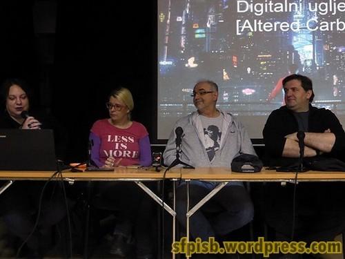 Tribina o Morganovom Digitalnom ugljeniku: Ivana Damjanović, Jelena Jokanović, Goran Skrobonja, Pavle Knežević.
