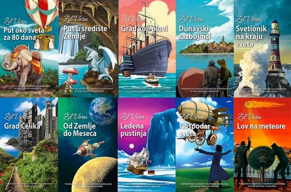Sve naslovnice knjiga iz edicije posvećene Žilu Vernu - Liber Novus